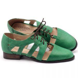 Oxford Flat em couro verde - Código - 9410