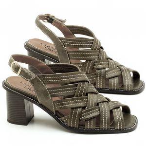 Sandália Salto Médio de 6cm em couro Musgo - Código - 3544