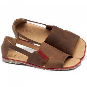 Rasteira Flat em curo marrom com palmilha em couro - Código - 145012