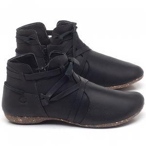 Flat Boot em couro Preto - Código - 148022