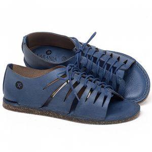 Rasteira Flat em couro Azul - Código - 141153
