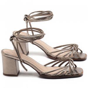Sandália Salto Médio de 6cm em couro Metalizado - Código - 3702