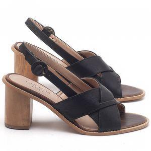 Sandália Salto Médio de 6cm em couro Preto - Código - 9455