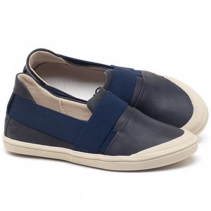 Tênis Cano Baixo em couro Azul Marinho - Código - 56198