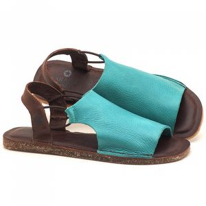 Rasteira Flat em couro piscina - código - 141043