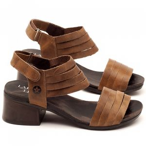 Sandália Boho em couro marrom com salto de 5cm - Código - 137141