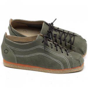 Flat Shoes em couro Verde Musgo - Código - 3060