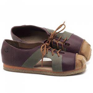 Flat Shoes em couro Conhaque com Vinho e Verde Musgo - Código - 3054