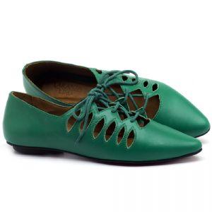 Sapatilha Bico Fino em couro Verde - Código - 56031