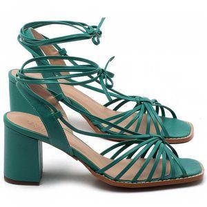 Sandália Salto Médio de 6cm em couro Verde Hortelã - Código - 3653