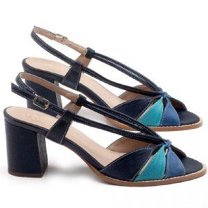 Sandália Salto Médio de 6cm em couro Azul - Código - 3665