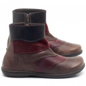 Flat Boot em couro Vermelho com Marrom - Código - 56076