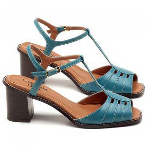 Sandália Salto médio de 6cm em couro azul turquesa - Código - 3552