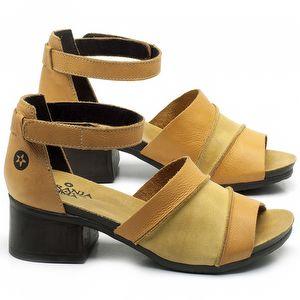 Sandália Boho com Salto Médio de 5cm em couro Amarelo - Código - 137079