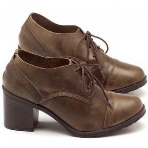 Sapato Fechado Estilo Boho-Chic com salto de 6cm em couro oliva - Código - 137042