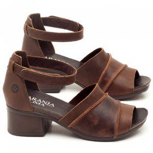 Sandália Boho de 5cm em couro Marrom Telha - Código - 137079