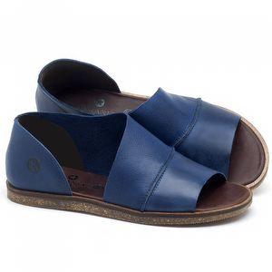 Rasteira Flat em couro Azul Bic - Código - 141055