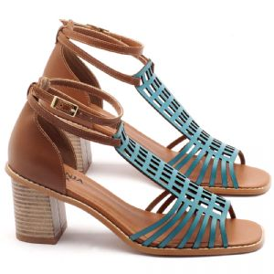 Sandália Salto médio de 6cm em couro turquesa com havana - Código - 3551