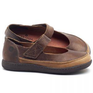 Flat Shoes em couro tan e conhaque - CÓDIGO - 137233