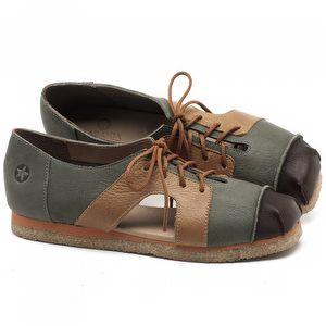 Flat Shoes em couro Verde Musgo com Marrom - Código - 3054