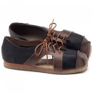 Flat Shoes em couro Preto com Marrom Telha - Código - 3054