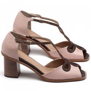 Sandália Salto Médio de 6cm em Couro Flamingo com Marrom Café - Código - 3598