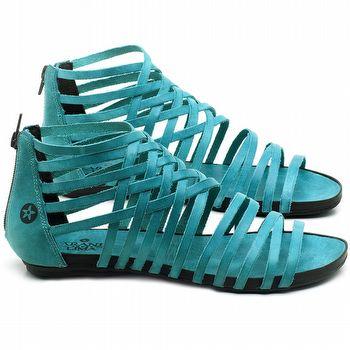 Rasteira Flat em couro Azul Piscina - Código - 137188