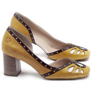 Scarpin Salto Médio de 6cm em couro Amarelo Citrus e Marrom Telha - Código - 3611