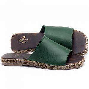 Rasteira Flat em couro Verde Bandeira - Código - 9449