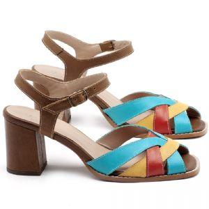 Sandália Salto Médio de 6cm em couro Marrom, Azul, Amarelo e Laranja - Código - 3667