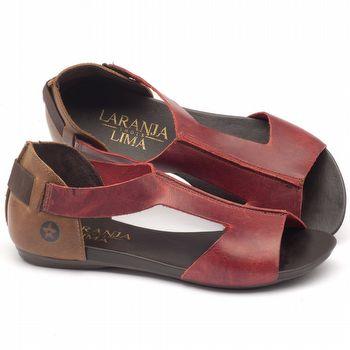 Rasteira Flat em couro vermelho com marrom 137026