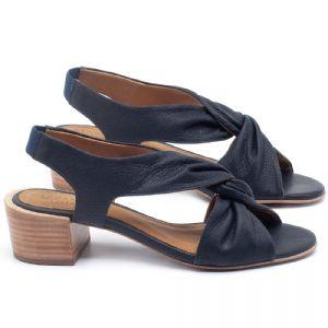 Sandália Salto Médio de 5cm em couro Azul Marinho - Código - 56177