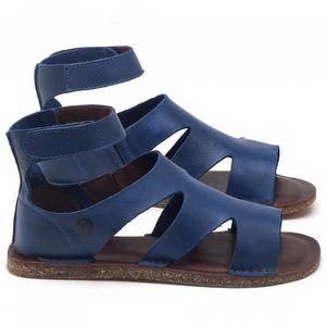 Rasteira Flat em couro Azul Bic - Código - 141096