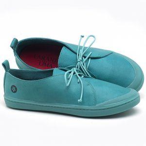 Tênis Cano Baixo em couro Azul Piscina - Código - 141076