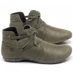 Flat Boot em couro Verde Musgo - Código - 148022