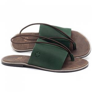 Rasteira Flat em couro Verde Bandeira - Código - 3657