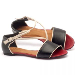 Rasteira Flat em couro preto, off-white e vermelho - Código - 56114