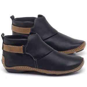 Flat Boot em couro Preto - Código - 136031