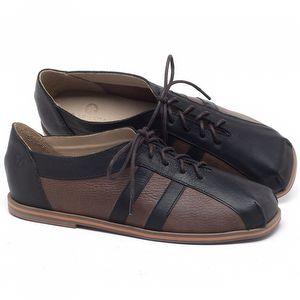 Flat Shoes em couro Preto com Marrom - Código - 3058