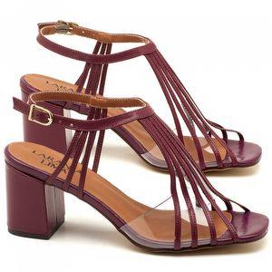 Sandália Salto médio de 6cm em couro vinho - Código - 3557