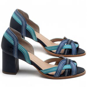 Sandália Salto Médio de 6cm em couro Azul Marinho, Piscina e Bic - Código - 3545