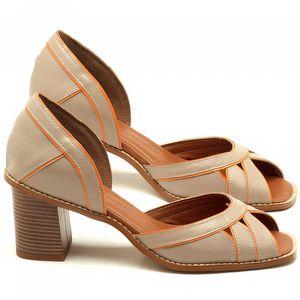 Sandália Salto médio de 6cm em couro bege com laranja - Código - 3489