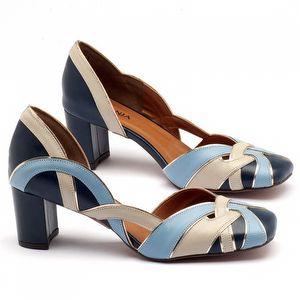 Scarpin Salto Médio de 6cm em couro Azul Marinho, Celeste e branco - Código - 3599
