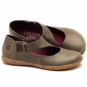 Flat Shoes em couro Musgo - Código - 137167