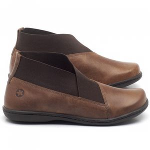 Flat Boot em couro Marrom Havana - Código - 56086