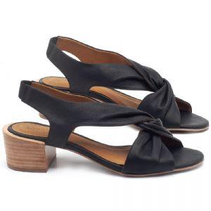 Sandália Salto Médio de 5cm em couro Preto - Código - 56177
