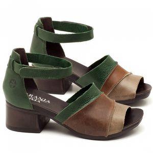Sandália Boho em couro marrom com verde com salto de 5cm - Código - 137079