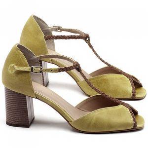 Sandália Salto Medio de 6cm em couro Amarelo - Código - 3596