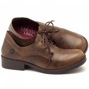 Sapato Fechado Estilo Boho-Chic em couro com salto de 3cm marrom oliva - Código - 137159