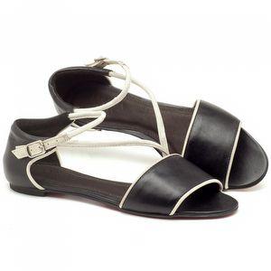 Rasteira Flat em couro preto e branco - Código - 56114